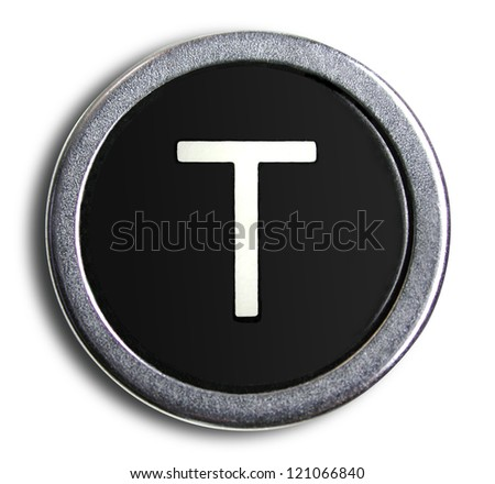 Photograph of Old Typewriter Key Letter T
