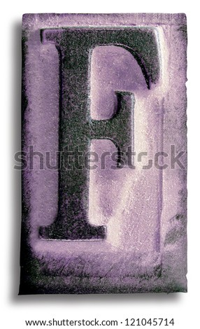 Photograph of Purple Rubber Stamp Letter F