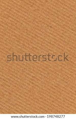 Photograph of recycle brown corrugated, coarse grain, striped, grooved, cardboard, grunge texture sample