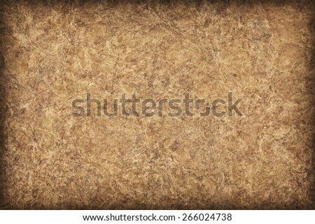 Photograph of Recycle Striped Ocher Pastel Paper, bleached, mottled, coarse grain, vignette grunge texture sample. - stock photo