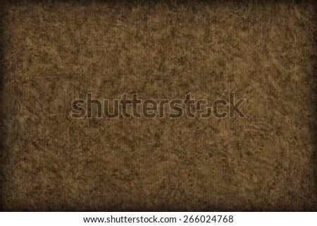Photograph of Recycle Striped Raw Umber Brown Pastel Paper, bleached, mottled, coarse grain, vignette grunge texture sample. - stock photo