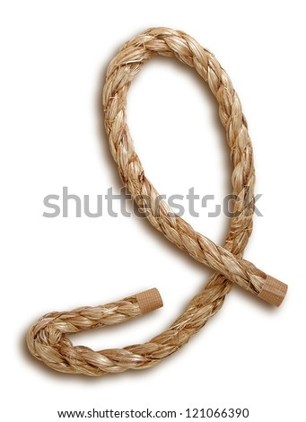 Photograph of Rope Letter I - stock photo