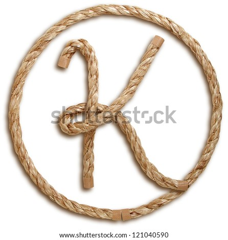 Photograph of Rope Letter K - stock photo