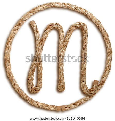 Photograph of Rope Letter M - stock photo