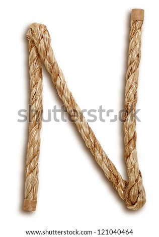 Photograph of Rope Letter N - stock photo