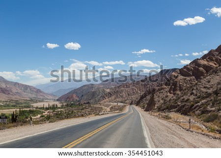 Photograph of route 9 close to Tilcara in Northwest Argentina.