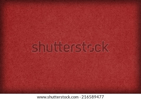 Photograph of saturated, dark Cardinal Red recycle striped paper, extra coarse grain, vignette, grunge texture sample.