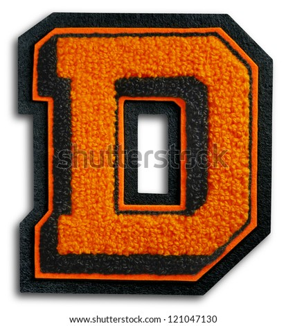Photograph of School Sports Letter - Black and Orange D - stock photo