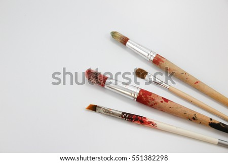 Photograph of some art dirty brushes