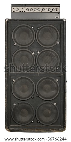 Photograph of the front of an old guitar or bass amplifier. Clipping path included.