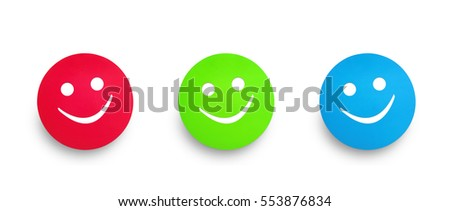 Photograph of three color cardboard tags in red green and blue. Happy or smile  concept.