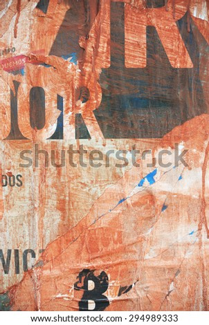 Photograph of urban random collage background or over-layered paper texture