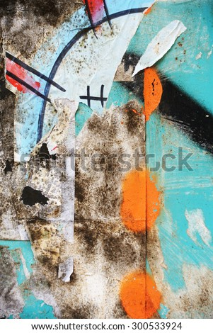 Photograph of urban random collage background or paint texture - stock photo
