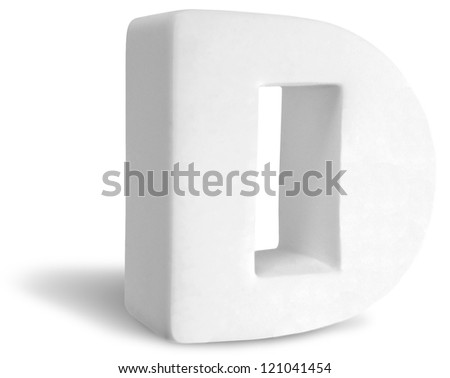Photograph of White Dimensional Deco Letter D - stock photo