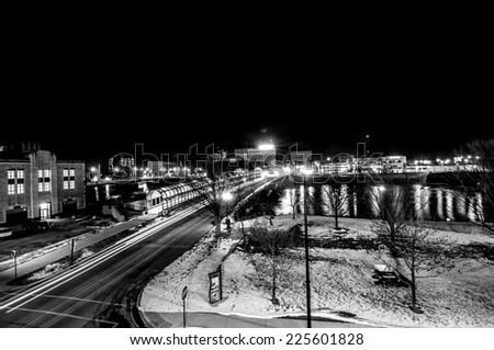 Photograph on Waterloo, Iowa downtown in black and white / Waterloo Iowa  - stock photo