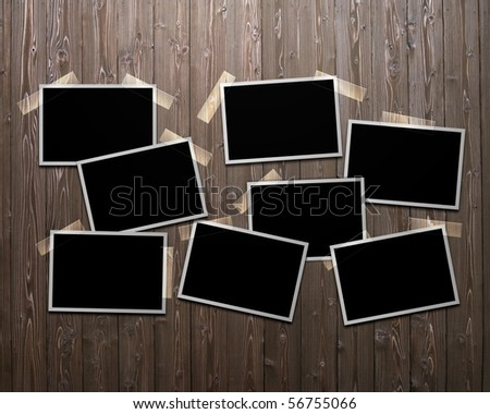 Photograph pasted to bulletin board - stock photo