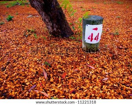 Photograph taken of a campsite marker at Meningie (South Australia). - stock photo