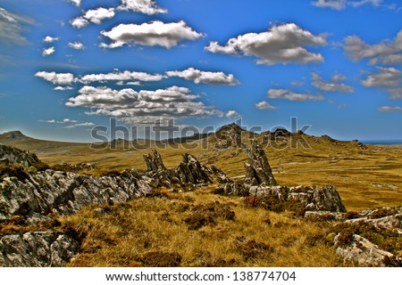 Photograph taken of the rugged peat terrain. This area witnessed many of the battles of the war in 1982. It also highlights the extensive, isolated and pure environment of the falkland Islands - stock photo