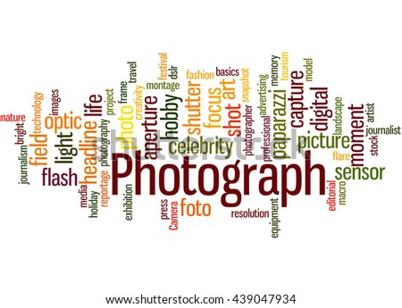 Photograph, word cloud concept on white background. - stock photo
