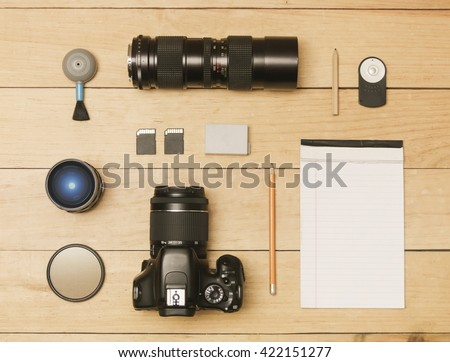Photographer accessories in flat lay shot