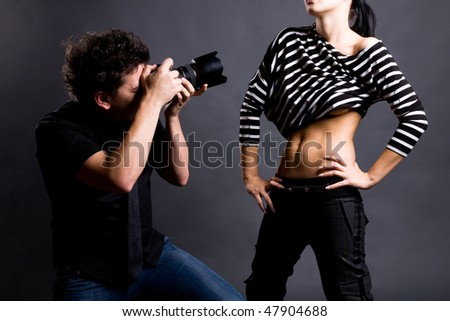 Photographer and model - stock photo