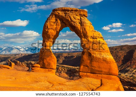 Photographer at Delicate Arch, Arches National Park, Utah