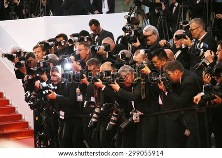 Photographer attend the premiere of 'The Sea Of Trees' during the 68th annual Cannes Film Festival on May 16, 2015 in Cannes, France.