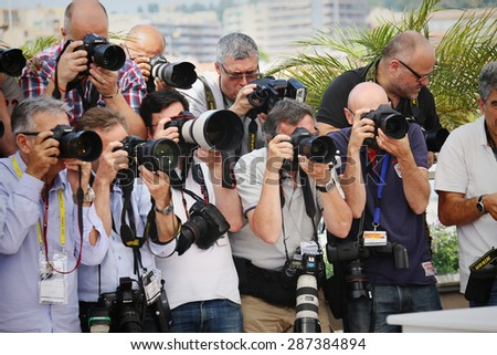 Photographer attends the 'Amnesia' Photocall during the 68th annual Cannes Film Festival on May 19, 2015 in Cannes, France. - stock photo