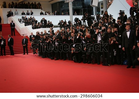 Photographer attends the Premiere of 'Irrational Man' during the 68th annual Cannes Film Festival on May 15, 2015 in Cannes, France. - stock photo