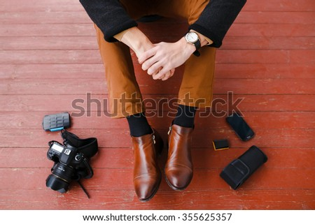 Photographer, camera and devices for shooting on the wooden floor