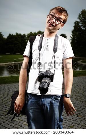 Photographer crazy - stock photo
