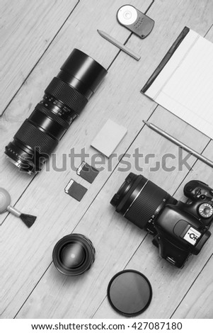 Photographer flat lay Black and White