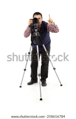 Photographer Man Isolated on white