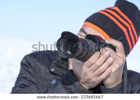 photographer on the nature winter