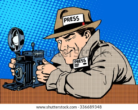 Photographer paparazzi at work press media camera. The reporter looks at pictures. Pop art retro style - stock photo