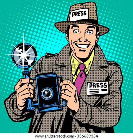 Photographer paparazzi at work press media camera. The reporter smiles. Pop art retro style - stock photo