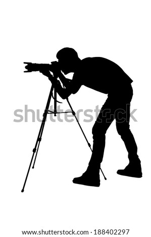 Photographer shooting. Side view silhouette of man using tripod while shooting and standing isolated on white