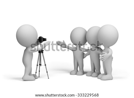 Photographer takes three friends. 3d image. White background.