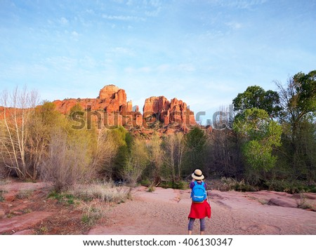 Photographer Taking a Picture of Cathedral Rock in Sedona Arizona