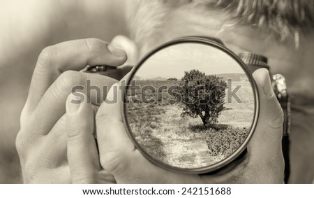 Photographer taking photo with DSLR camera at tree in countryside. Shallow DOF - stock photo