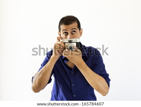photographer thinking about his new instant on white background