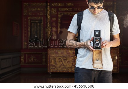 Photographer Traveler Capture Portrait Concept - stock photo