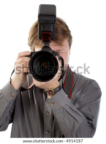 Photographer wit DSLR camera on white background