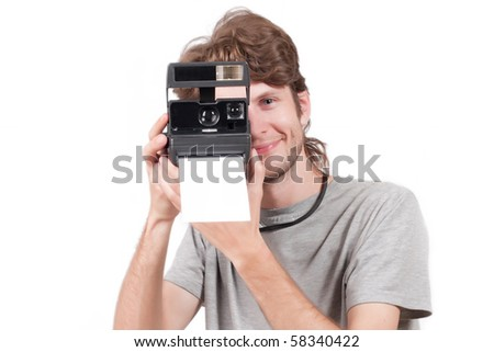 photographer with an old photo cameras