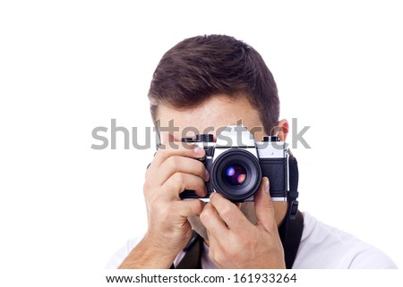 Photographer with camera, isolated on a white background - stock photo