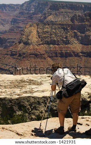 Photographer with tripod at the Grand Canyon (Grandview Point)