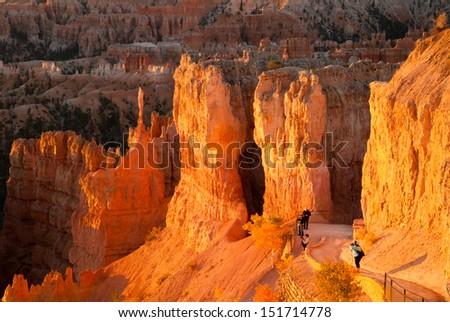 Photographers at Sunrise, Bryce Canyon National Park, Utah, USA - stock photo