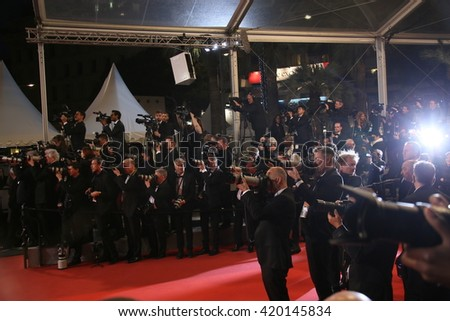 Photographers attend the 'Slack Bay (Ma Loute)' premiere during the 69th annual Cannes Film Festival at the Palais des Festivals on May 13, 2016 in Cannes, France.