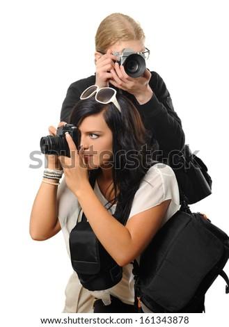 Photographers isolated on white - stock photo