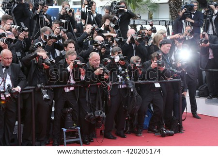 Photographers on the red carpet for the screening of 'Money Monster' at the annual 69th Cannes Film Festival at Palais des Festivals on May 12, 2016 in Cannes, France.